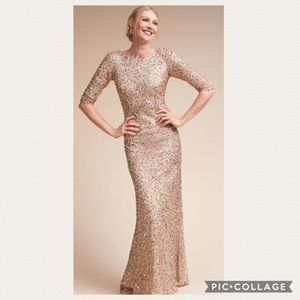 Adrianna Papell 3/4 sleeve sequin scoop back dress